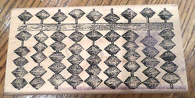 Abacus River City Rubber Works 2001 1817-Q Chinese Math Wood Mount Rubber Stamp