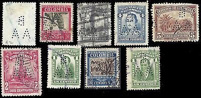 COLOMBIA - Perfin B/AA (narrow version) - Banco Alemán-Antioqueño - 9 stamps