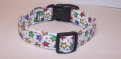 Wet Nose Designs Fun Rainbow Colored Stars Dog Collar - Fun Dog Collars