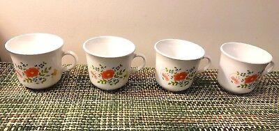 Set of 4 Corelle Wild Flower Cups with Orange Flower Pattern ()