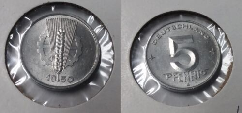 Scarce 1950 A DDR East Germany 5 pfennig- UNC
