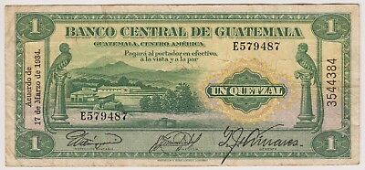 Guatemala Banco Central 1 Quetzal 1934 P14a First Date VF Bird Rare Currency