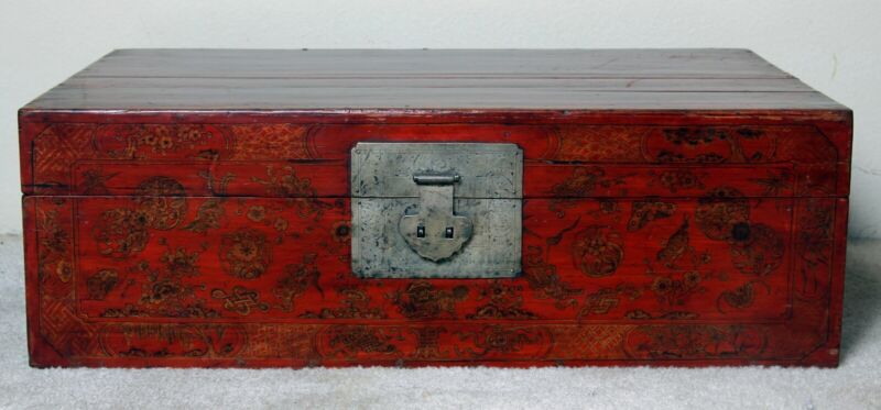 Chinese antique red lacquer hand painted chest with original silverware
