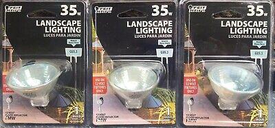 3 Each FEIT ELECTRIC 35W LANDSCAPE HALOGEN REFLECTOR FLOOD BULB ~ 12V GU5.3 BASE
