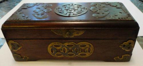 Vintage Asian jewelry rosewood? box brass trim China