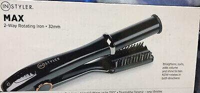 InStyler MAX Black 32mm 2-Way Rotating Iron, Straightens, Curls New