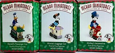"""Vintage 1998 Set of 3 Hallmark """"Disney Merry Miniature Figurines"""" w/orig boxes"""