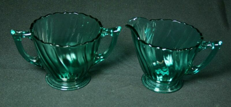 Vintage Jeannette Glass Ultramarine Swirl Creamer And Sugar Bowl Set 1937