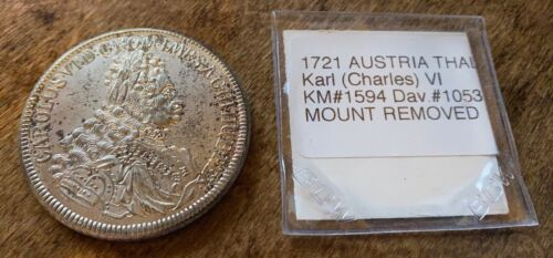 1721 Hall Mint AUSTRIA THALER Karl VI KM#1594 MOUNT REMOVED ALMOST UNC