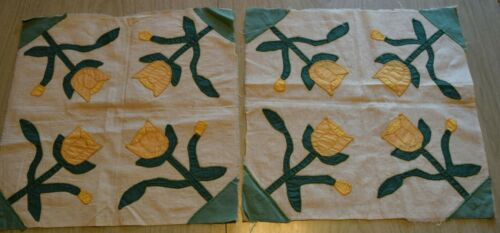 4183RP 2 antique 1935 Applique Tulip quilt blocks, solid greens and yellow!