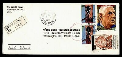 DR WHO 1992 BENIN COTONOU OVPT REGISTERED AIRMAIL TO USA  g19901