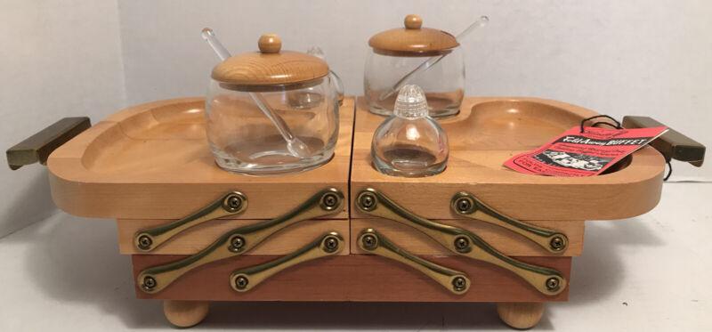Vintage Karoff Wood Mid Century Modern Fold Away Buffet Serving Tray Unused