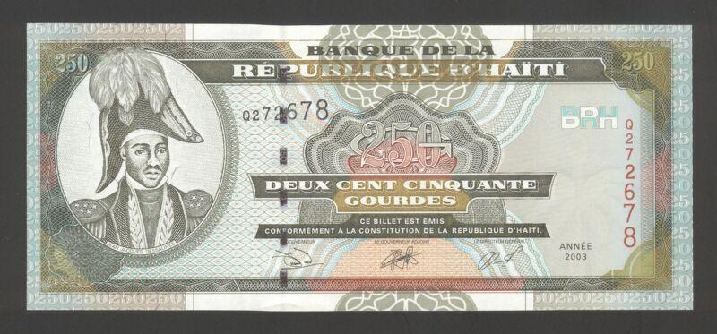 Haiti 250 Gourdes 2003 AU-UNC P. 269,  Banknotes, Uncirculated