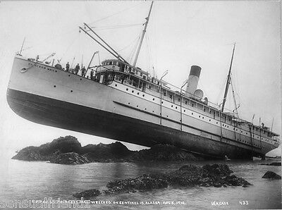 Shipwreck Ss Pincess May Alaska Old Sea Sailing Cruise Ship Photo Print 1910