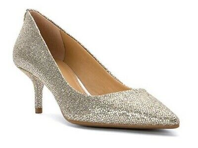 - Womens Shoes Michael Kors MK Mid Flex Kitten Pump Glitter Silver Mirror Metallic