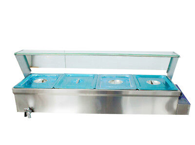 6inch Deep 4-pan Buffet Bain-marie Food Warmer 1500w 110v Steam Table Stainless
