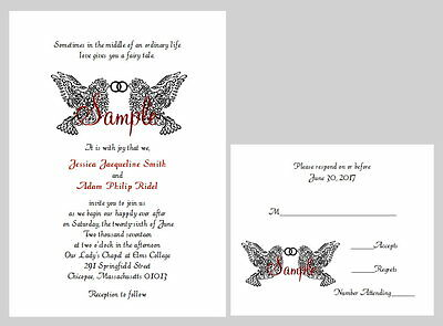 - 100 Personalized Black Damask Two Doves Rings Wedding Bridal Invitations Set