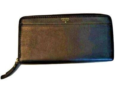 Fossil Womens Clutch Wallet Black Pebbled Leather Zip Around Organizer Purse Bag