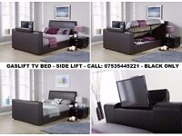 SIDE GASLIFT BLACK TV STORAGE BED - FANTASTIC PRICE - CHEAPEST BEDS ANYWHERE - CALL NOW