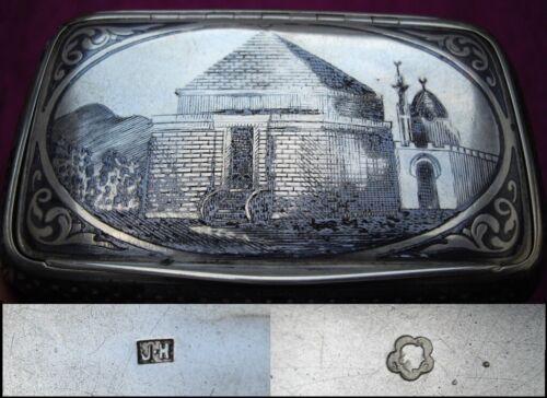 OTTOMAN TURKISH Antique CAUCASIAN / ARMENIAN SILVER NIELLO CIGARETTE CASE 19thC