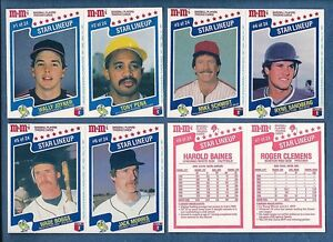 1987-Mars-M-Ms-candy-STAR-LINE-UP-Baseball-Card-SET-24-cards-in-12-panels