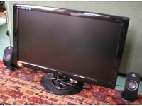 27 inch Computer Monitor Wide Screen, Two Speakers & Set-up Disc.