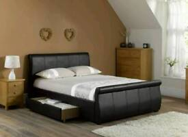 King Size Bed Frame faux leather bed is the ultimate in luxurious comfort and style.