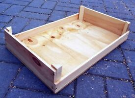Traditional Rustic Hand-Made Wooden HANDLED VEGETABLE / FRUIT TRAY