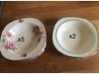FREE Vintage 1940s Soup Dessert Cereal Bowls x7