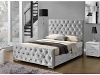 UK BEST SELLING BRAND-CHESTERFIELD CRUSHED VELVET DOUBLE BED FRAME SILVER, BLACK AND CREAM