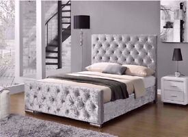 ◄◄FREE DELIVERY►►DIAMOND CRUSHED VELVET DESIGNER BED SINGLE DOUBLE KING ❤BLACK, CHAMPAGNE OR SILVER❤