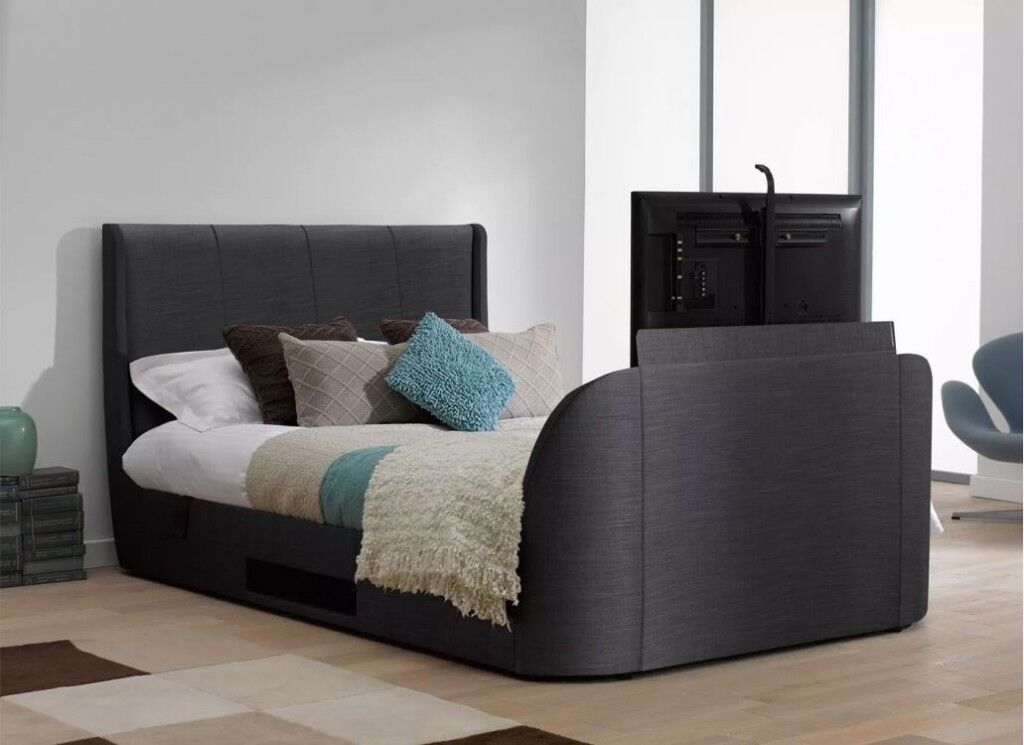 STYLISH SUPER KING SLATE GREY TITANIUM T3 TV BED WITH 40 INCHES SAMSUNG AND THERAPUR