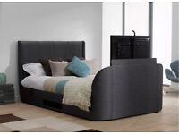 STYLISH SUPER KING SLATE GREY TITANIUM T3 TV BED WITH 40 INCHES SAMSUNG TV AND THERAPUR MATTRESS