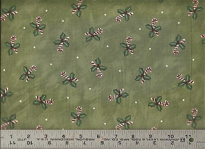 AE Nathan ~ CANDY CANES Christmas Holly Green ~ 100% Cotton Quilt Fabric Remnant