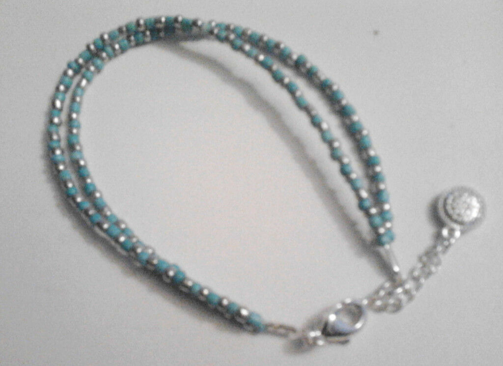 New Ladies Turquoise and Silver Toned Beaded Dual Chained Bracelet.
