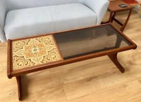GPLAN COFFEE TABLE, 1970S WOODEN WITH GLASS TOP, ORIGINAL RETRO MID CENTURY