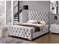 furniture for sale-Crush velvet Chesterfield Bed Frame-optional mattress-diff Color
