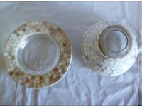 Yankee Candle Mosaic Shade & Plate for large jar. Perfect condition Cream, gold & brown