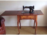 1950's Vintage Singer Sewing Machine in Queen Anne Burr Walnut Cabinet + Buttonhole part 86662