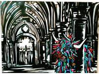 Painting university of Glasgow with Highland Cow