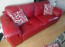 Real leather 3 seater sofa and chair