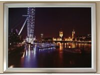 Large Framed Print on Canvas of London Embankment at Night