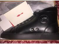 Black leather Christian Louboutin Louis High Tops. Size8