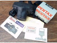 Asahi Pentax MX with f1.7 50mm, AF200s Flash, Case, Manuals + Photography Guide Book