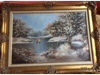 Les Parson large oil painting of children skating gold colour frame vgc