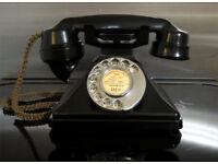 SUPERB 1940'S Ex GPO 232 BAKELITE TELEPHONE, RESTORED, WORKING, READY TO PLUG & GO! vintage old