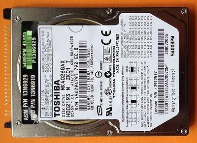 Toshiba 40 Gb Notebook-festplatte (NoteBook HDD Festplatte - Toshiba MK4026GAX 40GB # 5400 RPM # 2,5