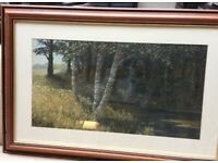 Large oil painting of a landscape, mounted in very attractive solid wooden frame