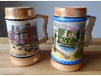 Highly collectible. 1960's.Two vintage Irish souvenir tankards. Beautiful retro illustrations.