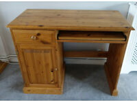 Solid Pine Wood Computer Desk with Drawer and Cupboard